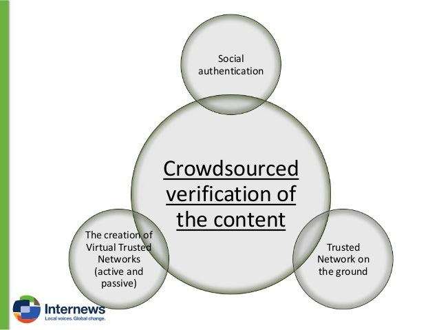 Social authentication When you are crowdsourcing information about a specific event or place, you should start finding an ...