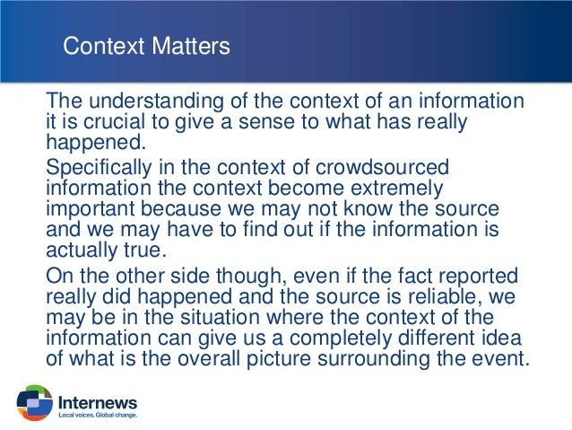 Why Context matters? People develop their opinions based on the information available to them, and this is how we evaluate...