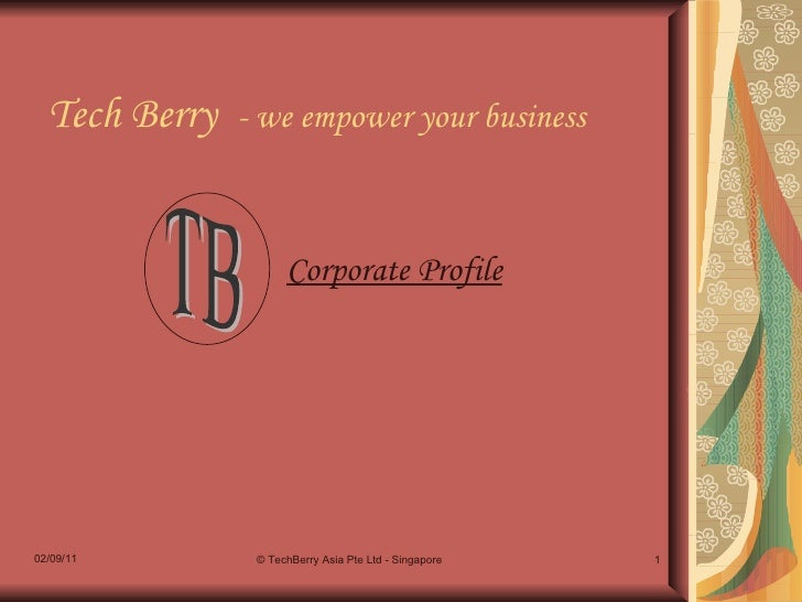 Tech Berry  - we empower your business Corporate Profile 02/09/11 © TechBerry Asia Pte Ltd - Singapore TB