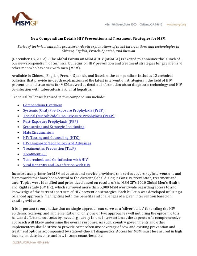 New Compendium Details HIV Prevention and Treatment Strategies for MSM Series of technical bulletins provides in-depth exp...