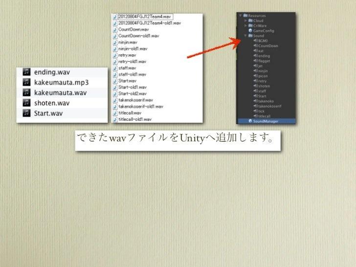 できたwavファイルをUnityへ追加します。