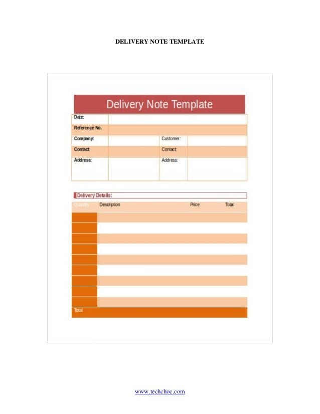 ... DELIVERY NOTE TEMPLATE ...  Delivery Slip Template