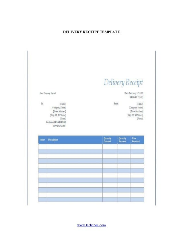 Goods Delivery Receipt Template Yelomdiffusion