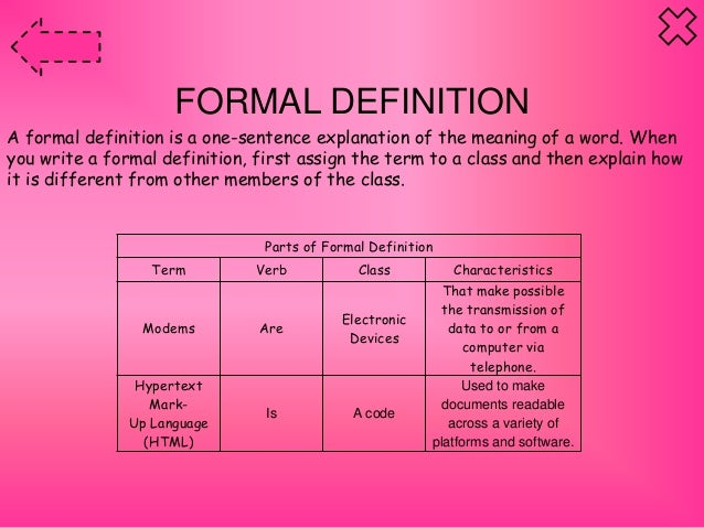 formal writing definition Writing skills: formal and informal writing to enable students to break down the different features of formal and informal english by working through a step-by-step.