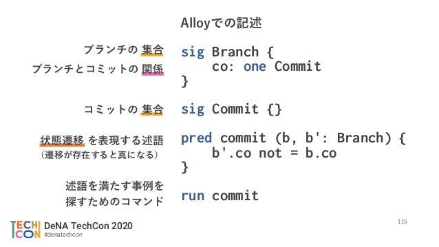 DeNA TechCon 2020 #denatechcon sig Branch { co: one Commit } sig Commit {} pred commit (b, b': Branch) { b'.co not = b.co ...