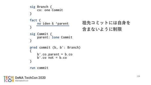 DeNA TechCon 2020 #denatechcon sig Branch { co: one Commit } fact { no iden & ^parent } sig Commit { parent: lone Commit }...