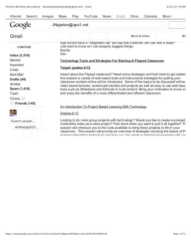 8/25/13 7:16 PMTechCon Workshop Descriptions - danieldownsphotography@gmail.com - Gmail Page 1 of 1https://mail.google.com...