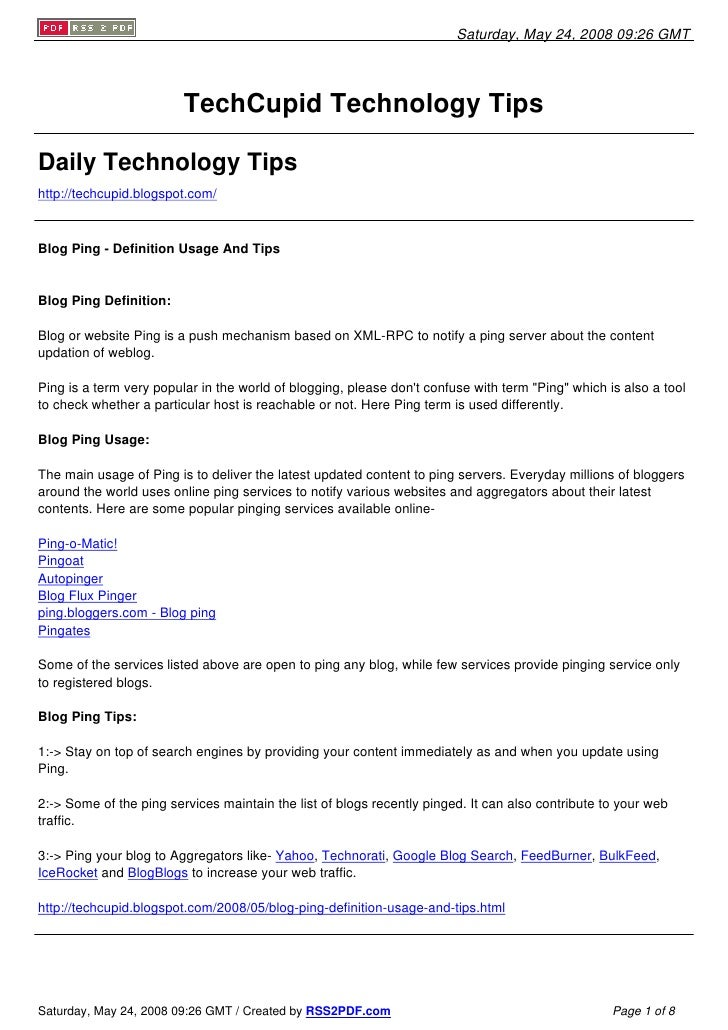 Saturday, May 24, 2008 09:26 GMT                              TechCupid Technology Tips  Daily Technology Tips http://tech...