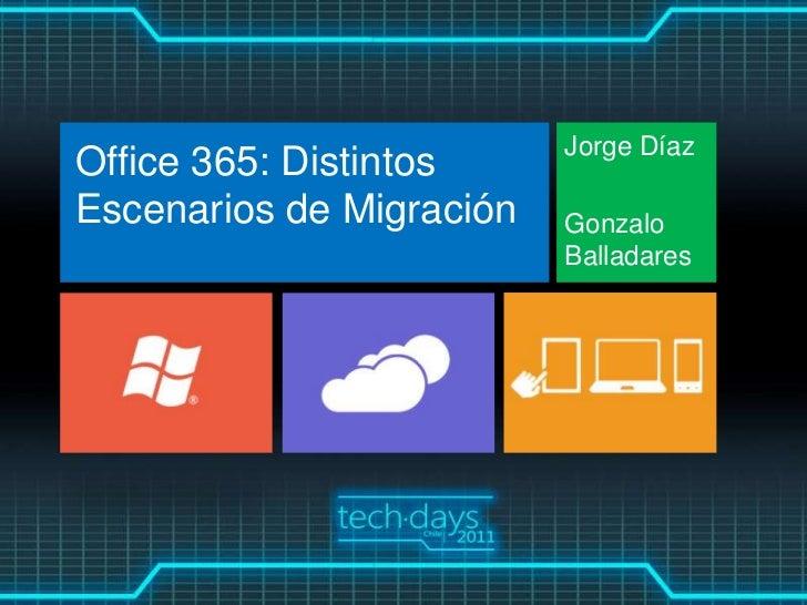 Jorge DíazOffice 365: DistintosEscenarios de Migración   Gonzalo                          Balladares