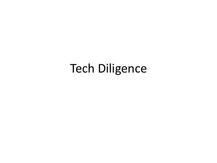 Tech Diligence