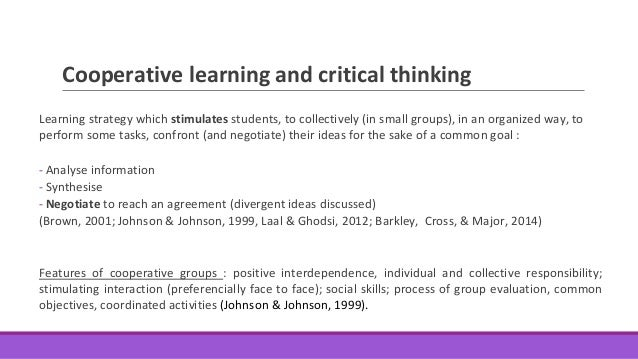 Enhancing college students' critical thinking skills in cooperative g…