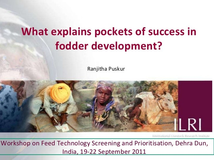 What explains pockets of success in fodder development? Ranjitha Puskur Workshop on Feed Technology Screening and Prioriti...