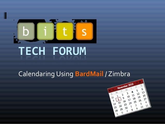 Calendaring Using BardMail / Zimbra