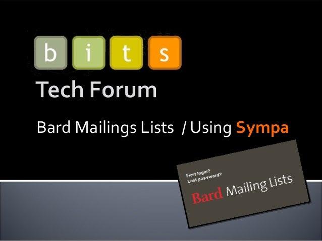Bard Mailings Lists / Using Sympa