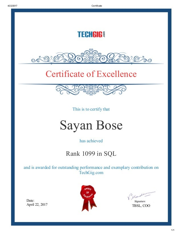 Techgig Certificate Of Excellence In Sql