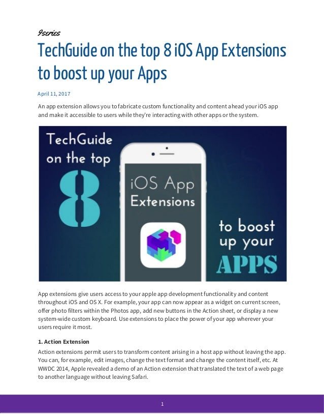 TechGuide on the top 8 iOS App Extensions to boost up your Apps