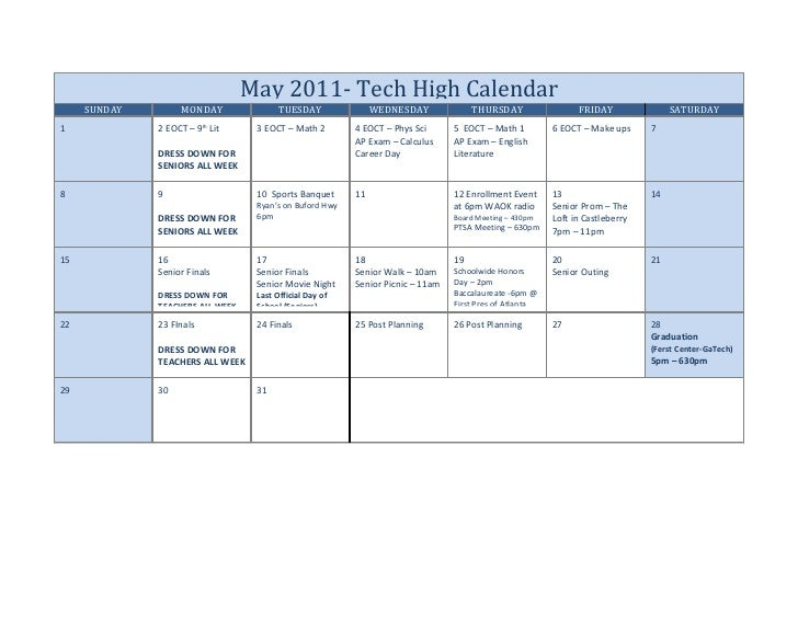 May 2011- Tech High Calendar     SUNDAY        MONDAY                TUESDAY               WEDNESDAY              THURSDAY...