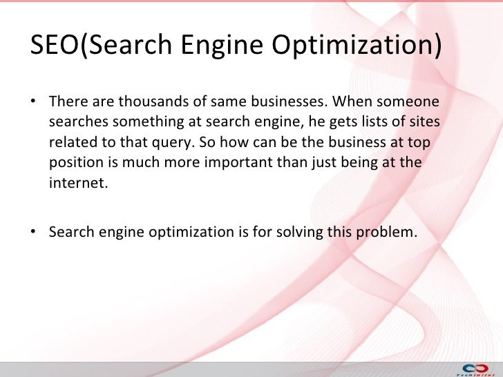Techinfini's presentation on SEO(search engine optimization), SEM(sea… slideshare - 웹
