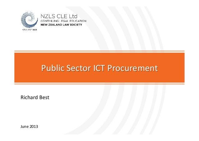 Richard Best Public Sector ICT Procurement June 2013