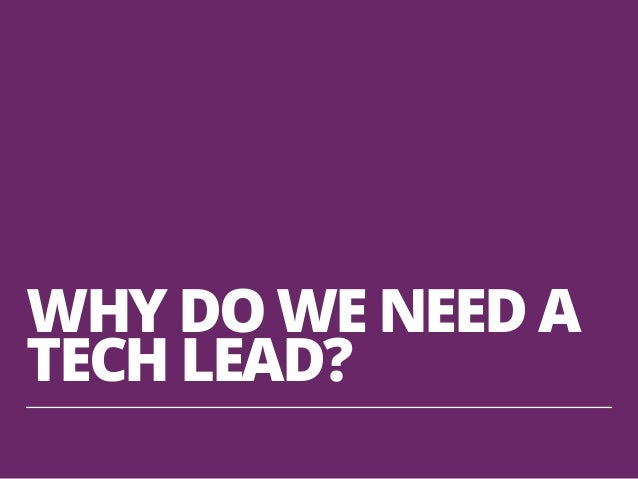 WHY DO WE NEED A TECH LEAD?