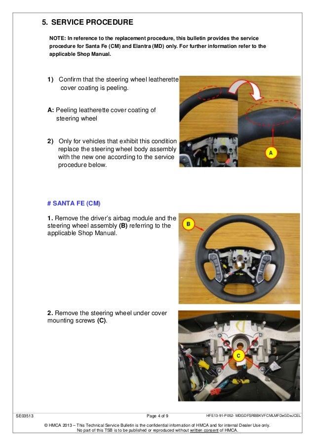 Tech'l service bulletin steering wheel peeling (replacement)
