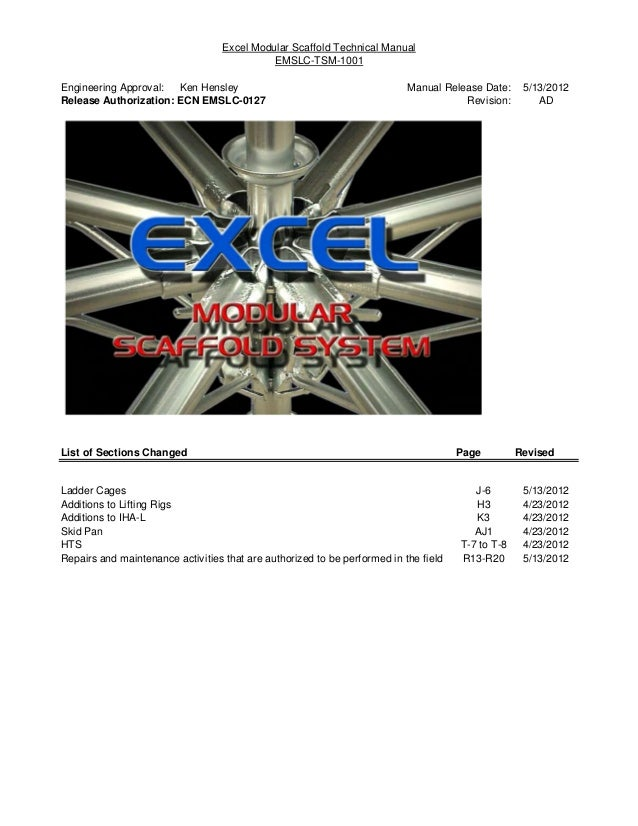 Excel Modular Scaffold Technical Manual                                             EMSLC-TSM-1001Engineering Approval: Ke...
