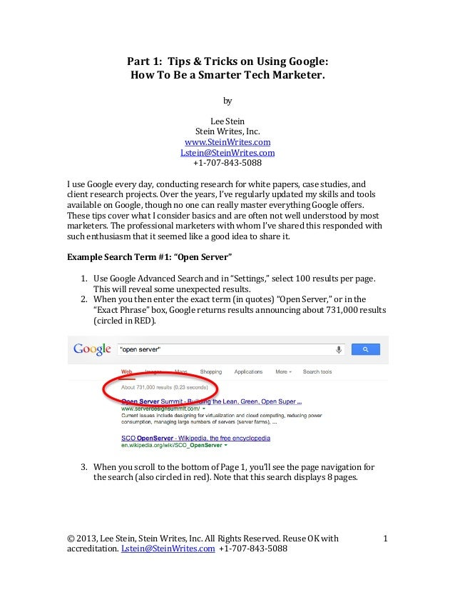 Part  1:    Tips  &  Tricks  on  Using  Google:   How  To  Be  a  Smarter  Tech  Marketer. ...