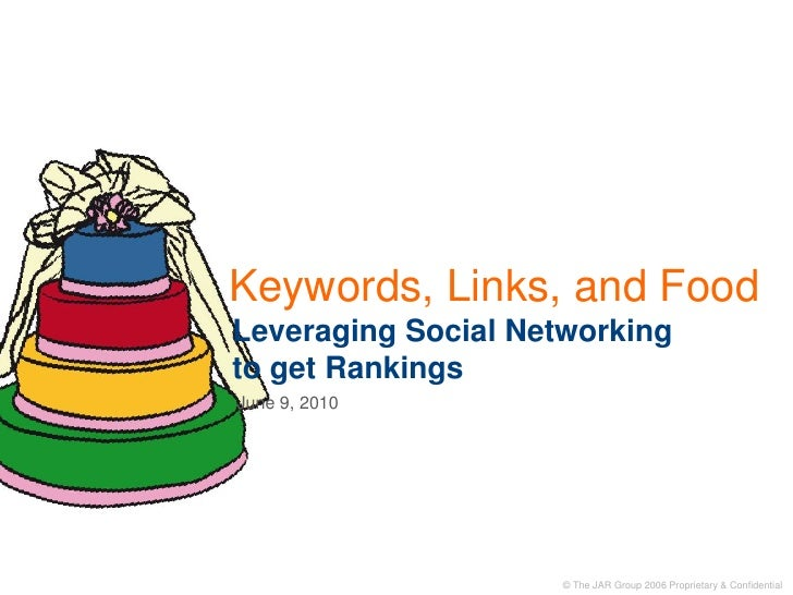 Keywords, Links, and FoodLeveraging Social Networkingto get Rankings<br />June 9, 2010<br />
