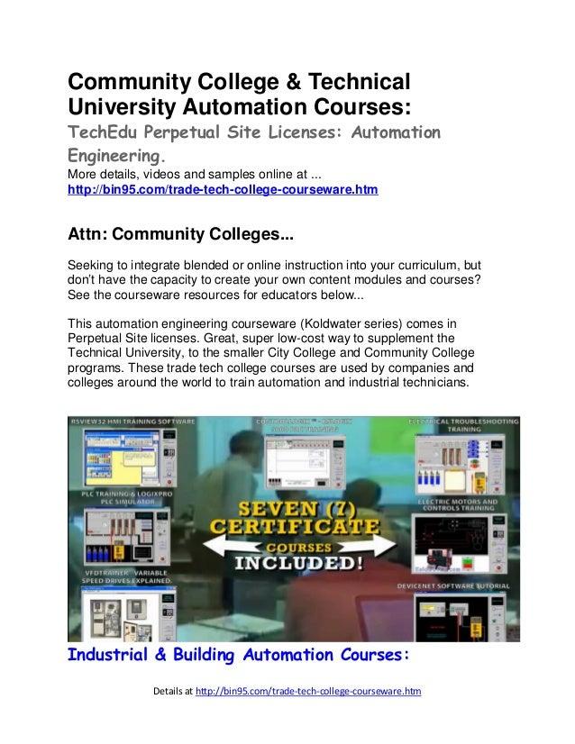 Details at http://bin95.com/trade-tech-college-courseware.htm Community College & Technical University Automation Courses:...