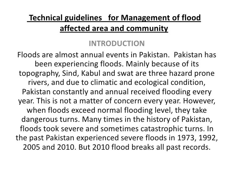 Technical Guidelines   For  Management Of Flood Affected