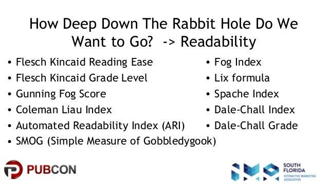 #pubcon How Deep Down The Rabbit Hole Do We Want to Go? -> Readability • Flesch Kincaid Reading Ease • Flesch Kincaid Grad...