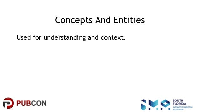 #pubcon Concepts And Entities Used for understanding and context.