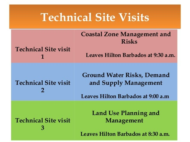 Technical Site Visits Technical Site visit 1  Technical Site visit 2  Technical Site visit 3  Coastal Zone Management and ...