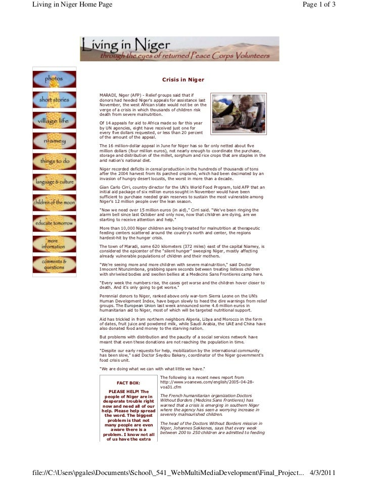 Living in Niger Home Page                                                                                     Page 1 of 3 ...