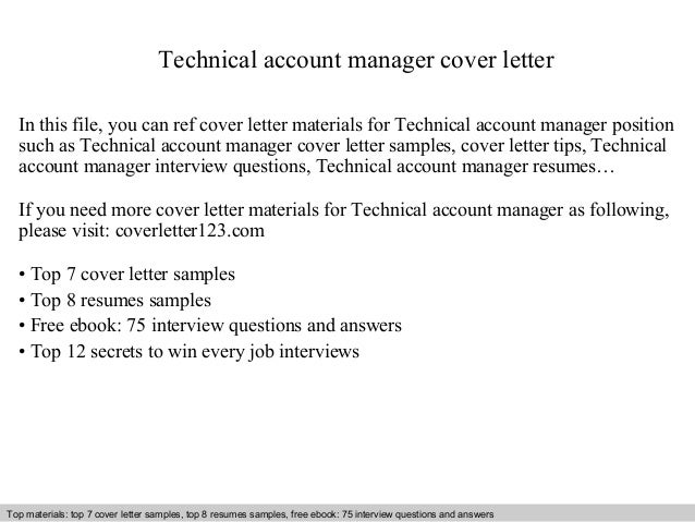 technical account manager cover letter in this file you can ref cover letter materials for cover letter sample - Sample Technical Manager Cover Letter