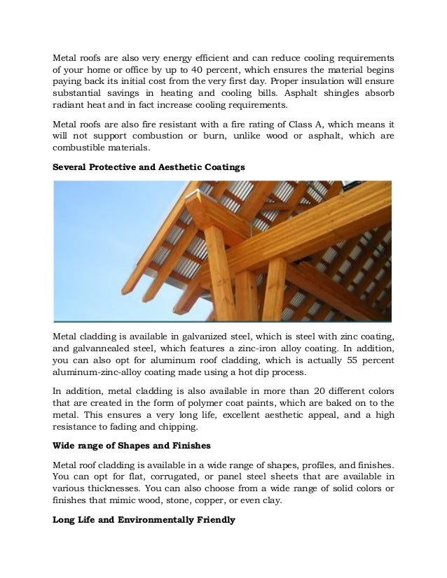 Technical Advantages of Metal Roof Cladding