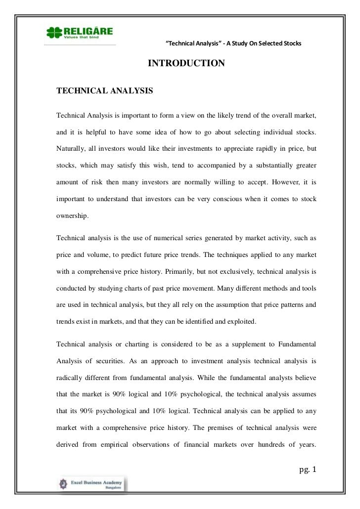 "Technical analysis"" a study on selected stocks"