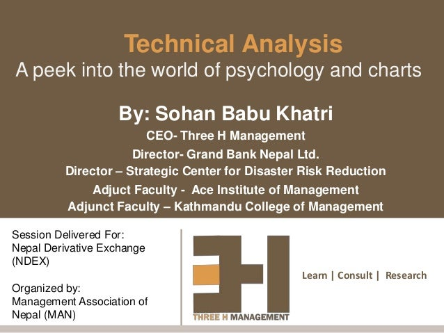 Learn | Consult | Research Technical Analysis A peek into the world of psychology and charts By: Sohan Babu Khatri CEO- Th...
