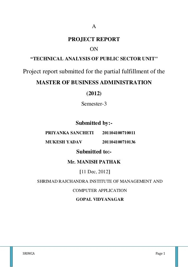 "A                    PROJECT REPORT                            ON   ""TECHNICAL ANALYSIS OF PUBLIC SECTOR UNIT""Project repo..."