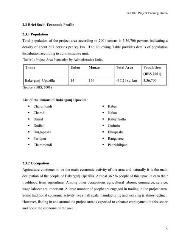 Plan 402: Project Planning Studio  2.3 Brief Socio-Economic Profile 2.3.1 Population Total population of the project area ...