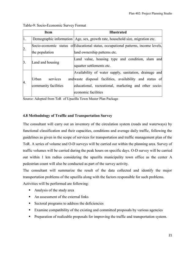 Plan 402: Project Planning Studio  Table-9: Socio-Economic Survey Format Item 1.  Illustrated  Demographic information Age...