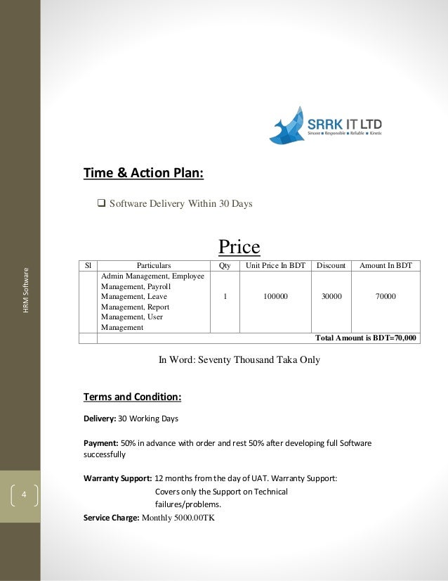 Technical And Financial Proposal For Hrm Software