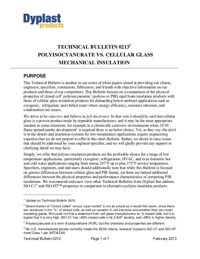 TECHNICAL BULLETIN 02131            POLYISOCYANURATE VS. CELLULAR GLASS                          MECHANICAL INSULATIONPURP...