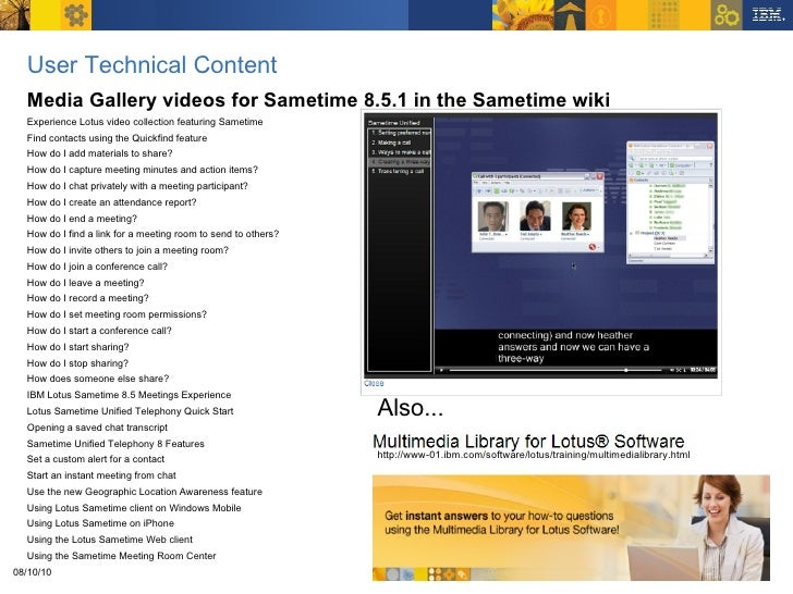 Technical Content Summary For Lotus Sametime 8 5 1