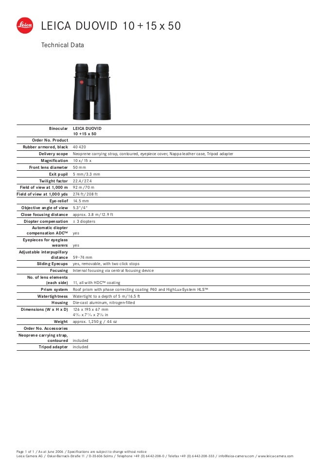 Technical Data Leica Duovid 50mm Optics Trade