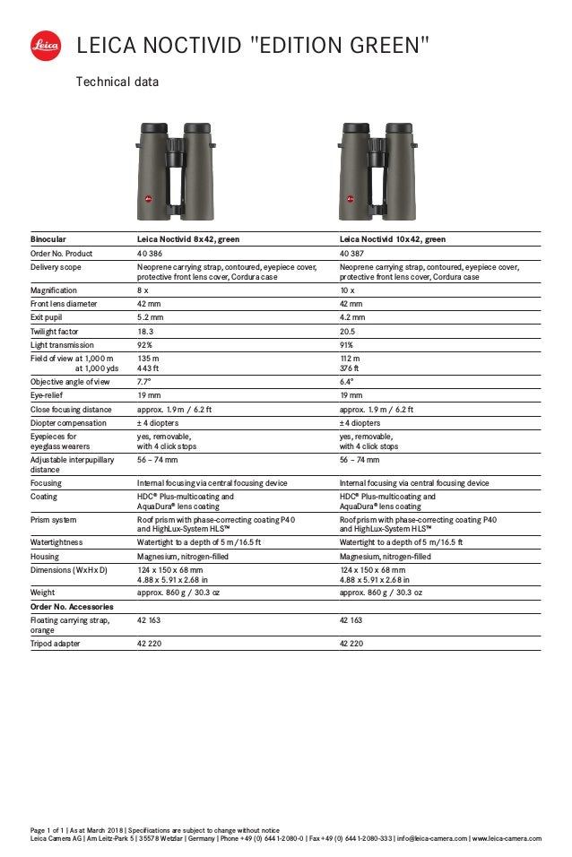 Technical data Page 1 of 1 I As at March 2018 I Specifications are subject to change without notice Leica Camera AG I Am L...