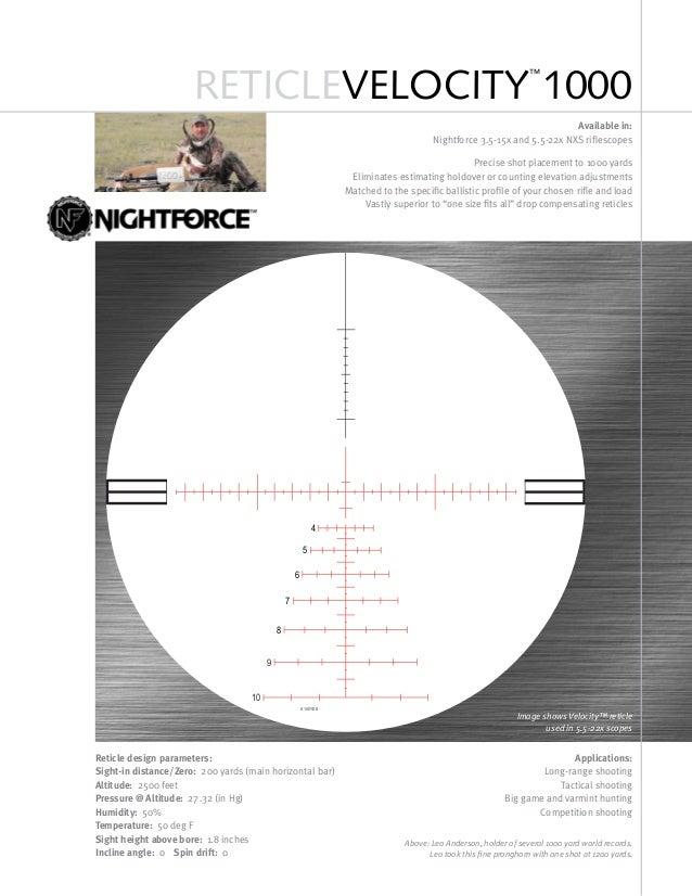 Technical data NIGHTFORCE Reticle VELOCITY 1000 | Optics Trade