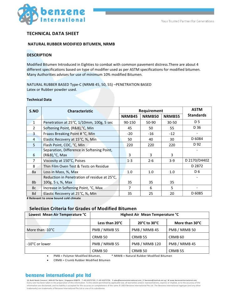 Technical Data Sheet Natural Rubber Modified Bitumen Nrmb
