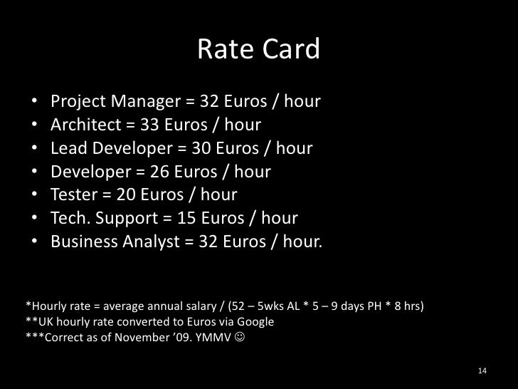 Rate Card<br />Project Manager = 32 Euros / hour<br />Architect = 33 Euros / hour<br />Lead Developer = 30 Euros / hour<br...