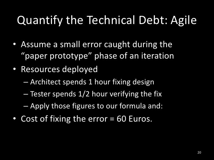 "Quantify the Technical Debt: Agile<br />Assume a small error caught during the ""paper prototype"" phase of an iteration<br ..."